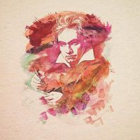 Beethoven Watercolour - Badbugs Art